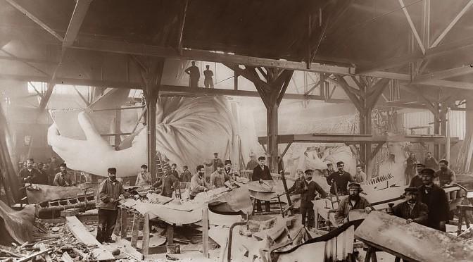 ภาพระหว่างการก่อสร้างเทพีเสรีภาพ